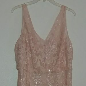 Adrianna Papell Blush Sequin Formal Dress